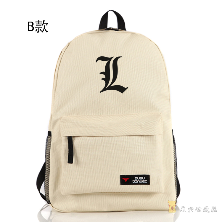 Top Anime Death Note cos Cartoon L logo printing bos and girls common schoolbag Shoulder canvas backpack fashion bag