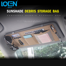 1PC Car Sun Visor card holder with Parking card leather Multi-function  Glasses Pen Card Organizer Auto Sunshade Storage Bag