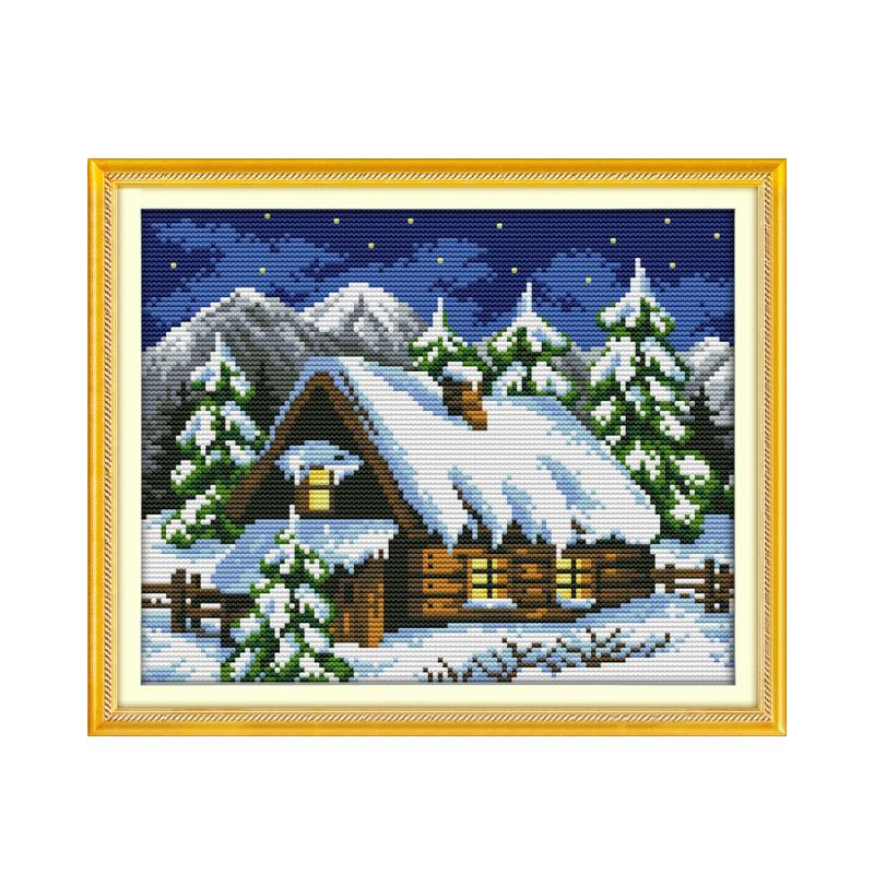 Winter Fairytale House Beautiful White Snow Cross Stitch
