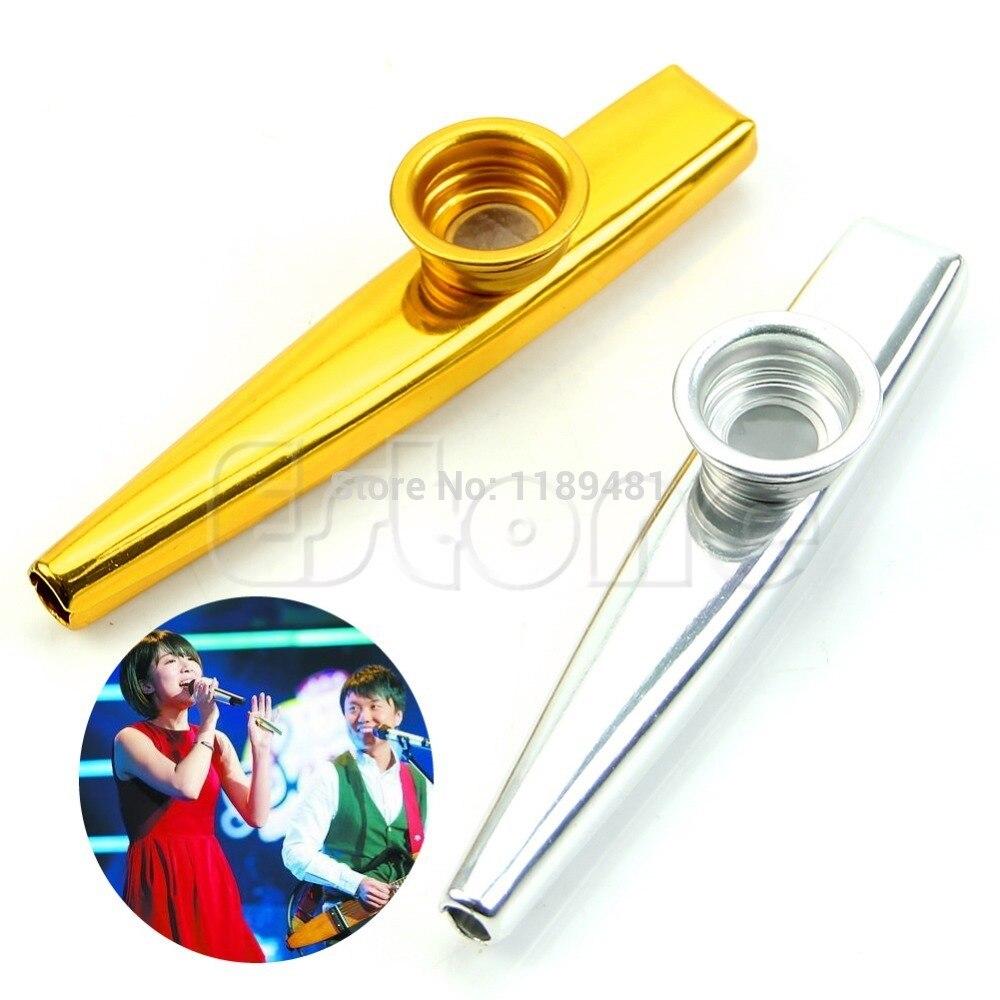 Envío Libre de Metal de Oro Boca Kazoo Armónica Instrumento Musical Flauta Niños