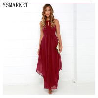8e173a45f967fc 2018 Summer Sexy Women Hollow Out Back Maxi Dress Wedding Party Chiffen  Halter Neck Dress E627