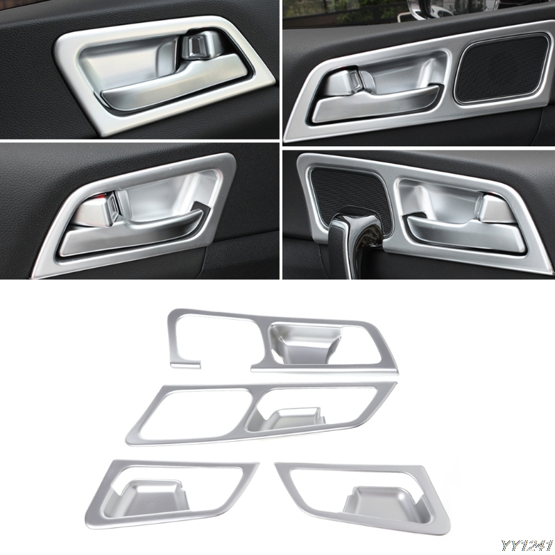 4 Pcs LHD Chrome Inside Door Handle Frame Trim Cover For Kia Sportage QL 2016 2018 Styling Interior Decoration Accessories for kia sportage ql 2016 2017 lhd car door armrest panel window switch lift buttons covers trim interior decoration accessories