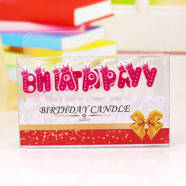 Wholesale Smokeless Birthday Candles Letters Crown Candle Blue Pink Two Colors Optional Party Cake Decorations