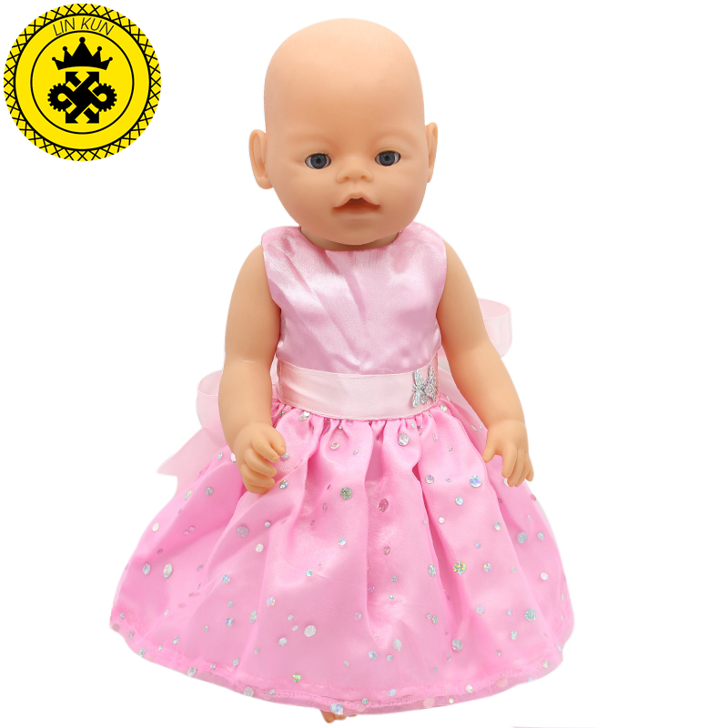 Pink Baby Born Doll Dress Clothes fit 43cm Baby Born Zapf or 17inch Doll Accessories Handmade Party Fashion Hope Happiness 014 baby born doll clothes bat patch skirt dress fit 43cm baby born zapf or 17inch baby born doll accessories high quality love 183