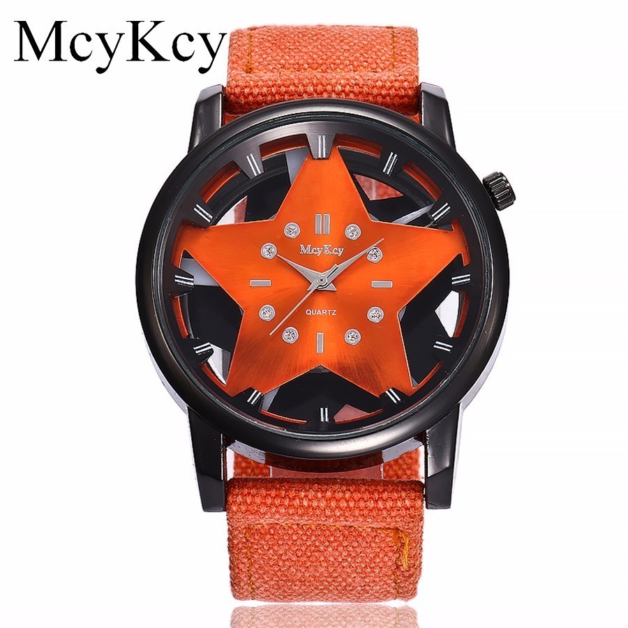 New McyKcy Brand Popular Hollow Star Nylon Strap Watches Men Army Military Male Quartz Sport Watch Clock Relogio Masculino Hot