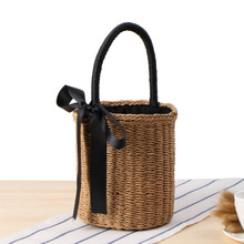 Round Barrel Shape Straw Handbag Fashion Rattan Female Hand Bags Summer Vacation Woven Casual Bag