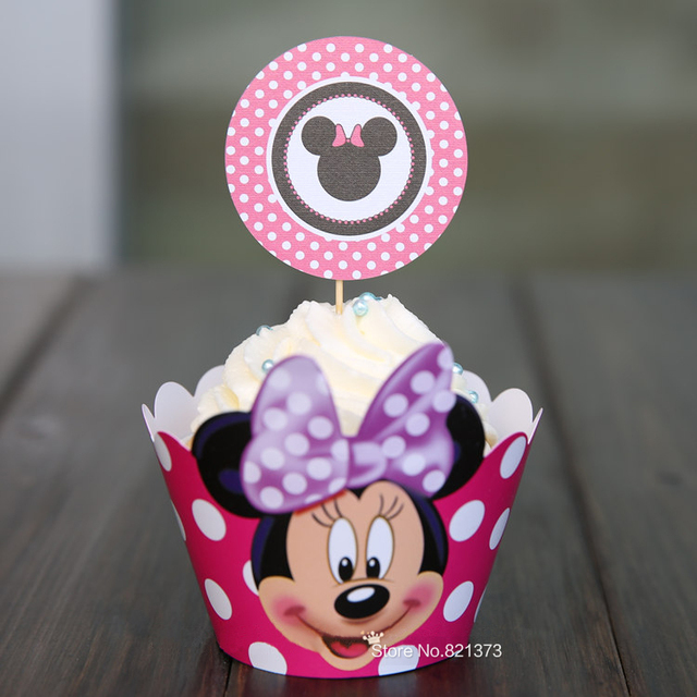 Free Shipping Minnie Mouse Cupcake Wrappers Decoration Birthday Party Favors For Kids Micky Cup Cake