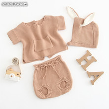 Knitted Baby Clothes 2019 Spring Newborn Baby Girl Clothes Bunny Baby Clothing Set 100 Cotton Baby Boys Clothes Infant Outfits cheap Sets Fashion Worsted Unisex Full Solid O-Neck Single Breasted REGULAR bbay set Coat Fits true to size take your normal size