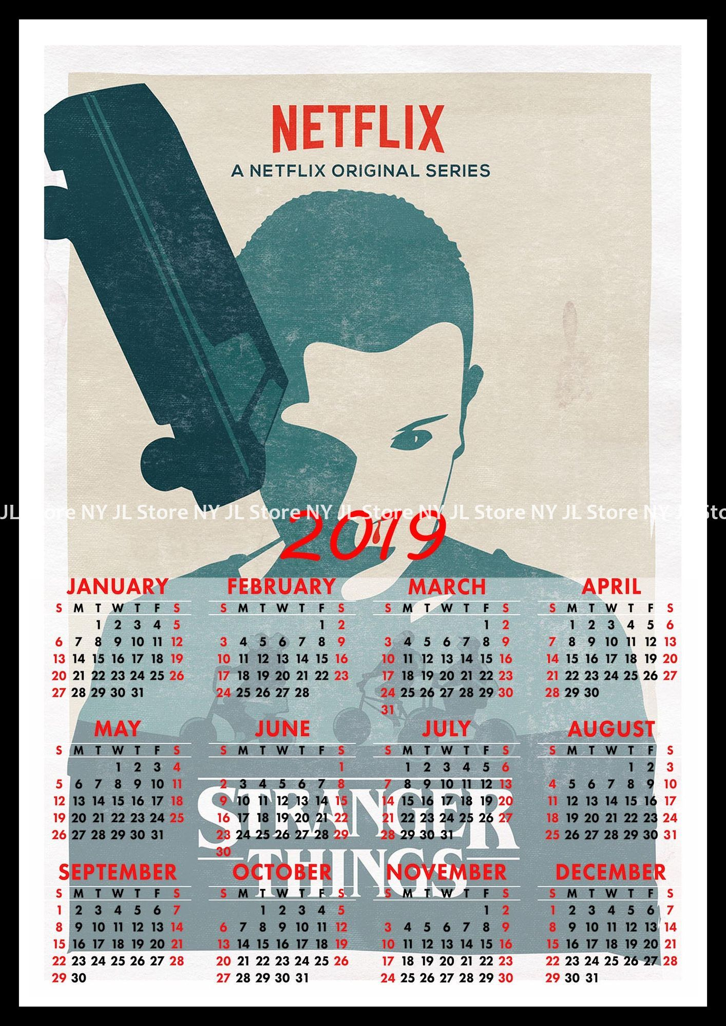 Calendario Stranger Things.Us 2 1 30 Off Stranger Things Collection Series A 2019 Calendar Home Furnishing Decorative White Coated Paper Poster Wall Sticker Home Decora In