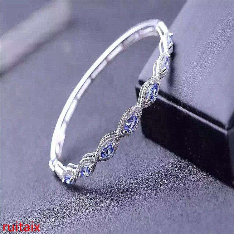 Kjjeaxcmy Fine Jewelry 925 Pure Silver Inlaid Natural Tanzania Female Bracelet Snow Support Inspection Fine Jewelry