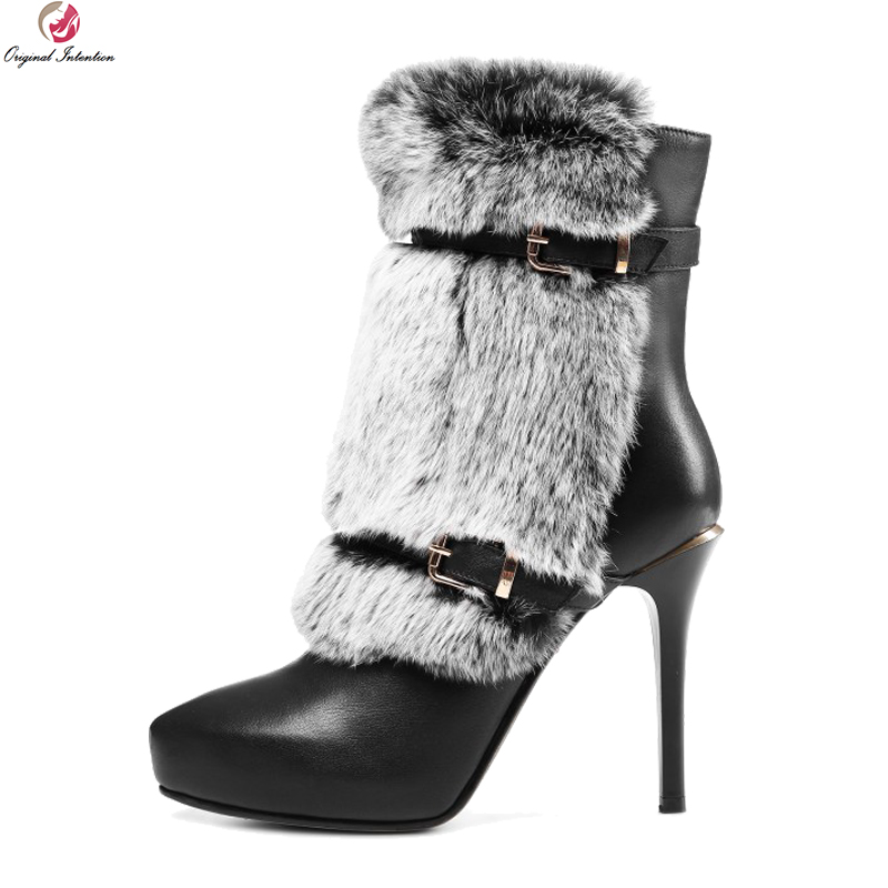 Original Intention Luxury Women Ankle Boots Fur Cow Leather Round Toe Square Heels Boots Black White Shoes Woman US Size 4-8.5 original intention elegant women knee high boots cow leather feather round toe square heels boots black shoes woman us size 4 10