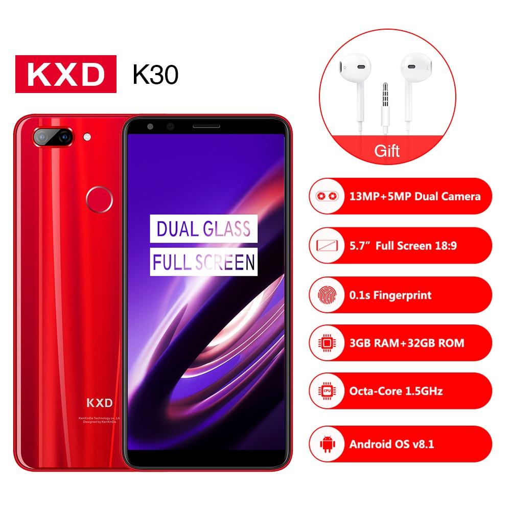 209 NEW kenxinda KXD K30 Smartphone 5.7FHD 18:9 MTK6750 Octa Core RAM 3GB ROM 32GB 4G LTE Andriod 8.0 13.0MP mobile phone