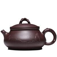 260 мл Исин фиолетовый глиняная скульптура старинные картины пуэр пан горшок Китайский кунг фу чайный набор сырой руды 9 отверстия фильтр чер