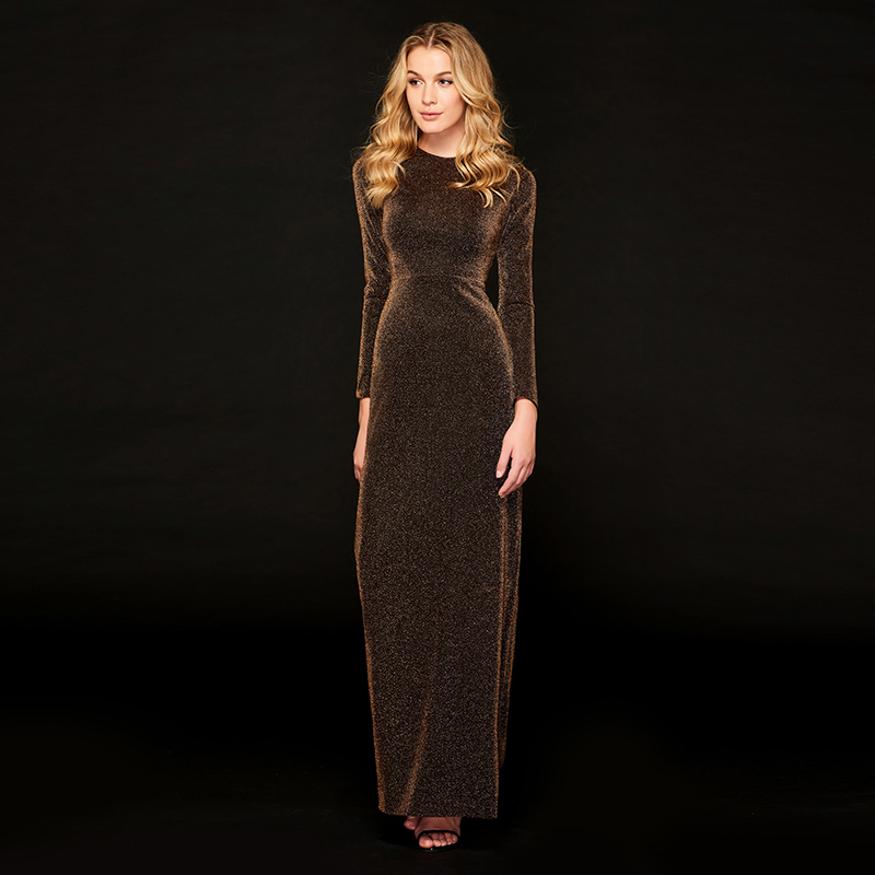 Tanpell scoop neck evening dress brown full sleeves floor length sheath gown women formal celebrity custom