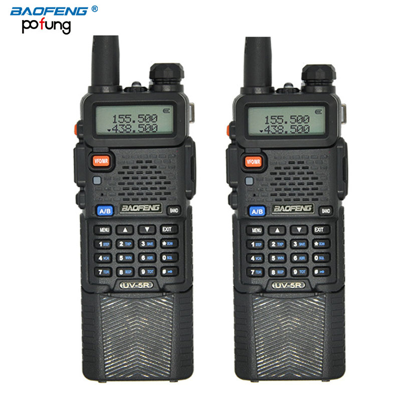 2PCS BaoFeng UV 5R Walkie Talkie 3800mAh battery Professional Dual Band UV5R Portable two way radio