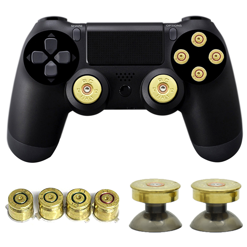 High Quality Metal Bullet Buttons For DualShock PS4 Wireless Gamepad Controller PS4 Controller Gold Thumbsticks Game Pad Button