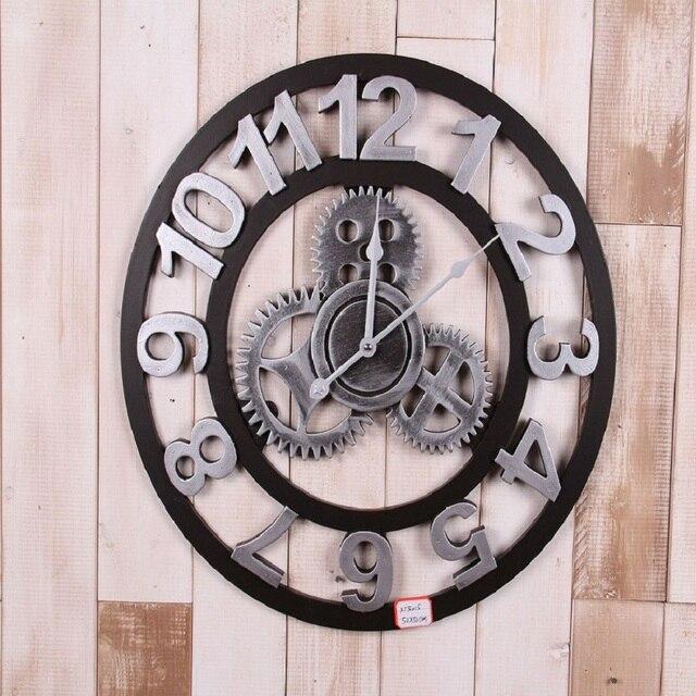 Gut Große 3d Vintage Holz Wanduhr Retro Getriebe Wandklok Wanduhren Wohnkultur  Antike Pared Uhren Uhren Saat Wanduhr
