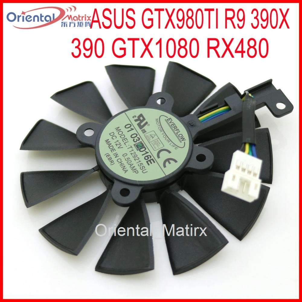 Free Shipping T129215SU 12V 0.5A 87mm For ASUS Strix GTX980TI R9 390X 390 GTX1080 Graphics Card Cooler Cooling Fan