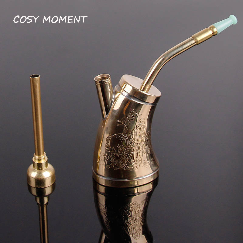 COSY MOMENT Mini Water Pipe For Smoking Weed Copper Portable Weed Pipe Smoking Filter Mini Hookah/Shisha Men Gifts SM080