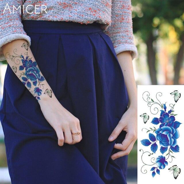 Розы Искусственные цветы руку на плечо татуировки наклейки флэш-тату хной поддельные водонепроницаемый временные татуировки наклейки Женщины на теле