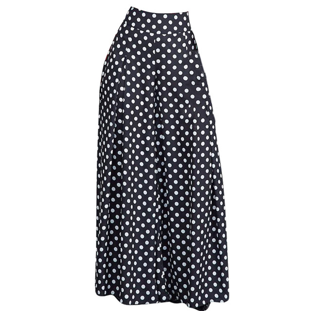 a53a0263f3 Young17 Casual High Waist Long White Polka Dot Pants Office Work Women Black  Loose Wide Legs Pants Pleated Pantskirt Trousers