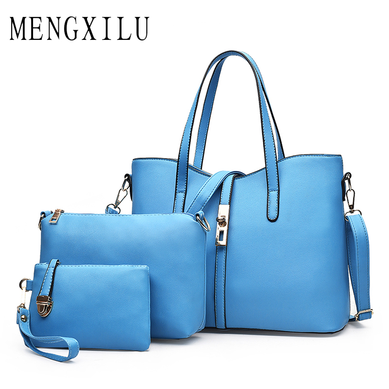 MENGXILU Fashion 3Pcs/Set Luxury Brand Women Shoulder Bag Designer Handbags High Quality Ladies Tote Bag Ladies Hand Bags 2018 women shoes spring autumn bright black martin boots lace up platform ankle boots quality genuine leather female motorcycle boots