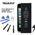Batería del teléfono para iphone 5 thinkant real capacidad 1440 mah batería para apple teléfono 5 con máquinas herramientas kit de baterías móviles