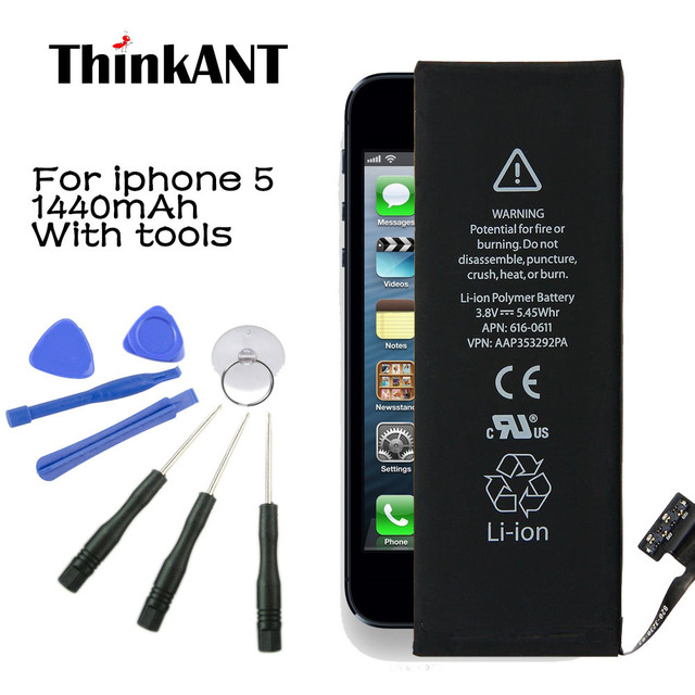 Bateria do telefone para iphone 5 thinkant real capacidade 1440 mah bateria para apple telefone 5 com kit de ferramentas de máquina de baterias móveis