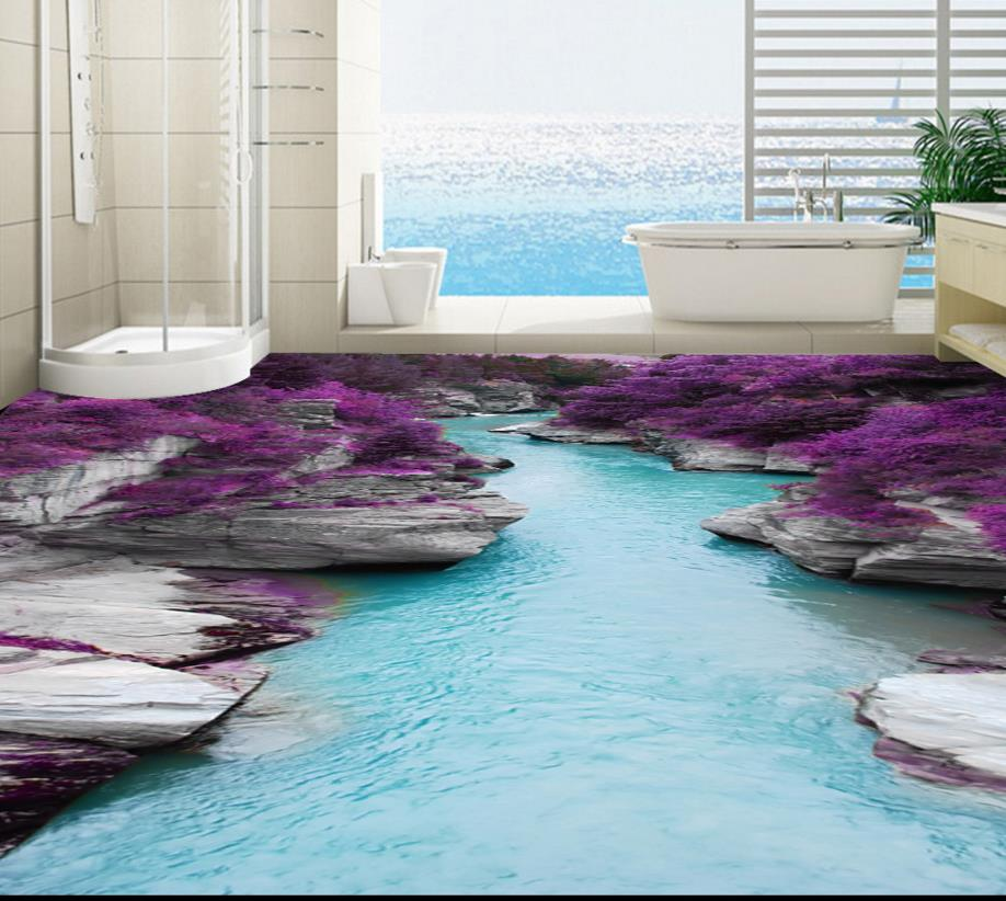 ФОТО Custom 3D floor stone water purple 3d floor tiles self-adhesive waterproof 3d floor pictures canyon