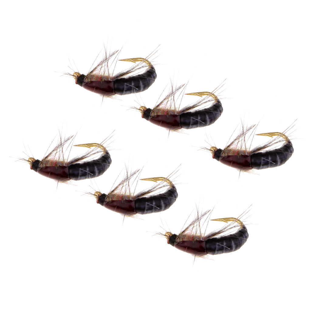 6pcs Nymph Scud Nymph Scud Fly Fishing Flies Fly Trout Fishing Lures Baits Senuelos de pesca leurres de peche in Fishing Lures from Sports Entertainment