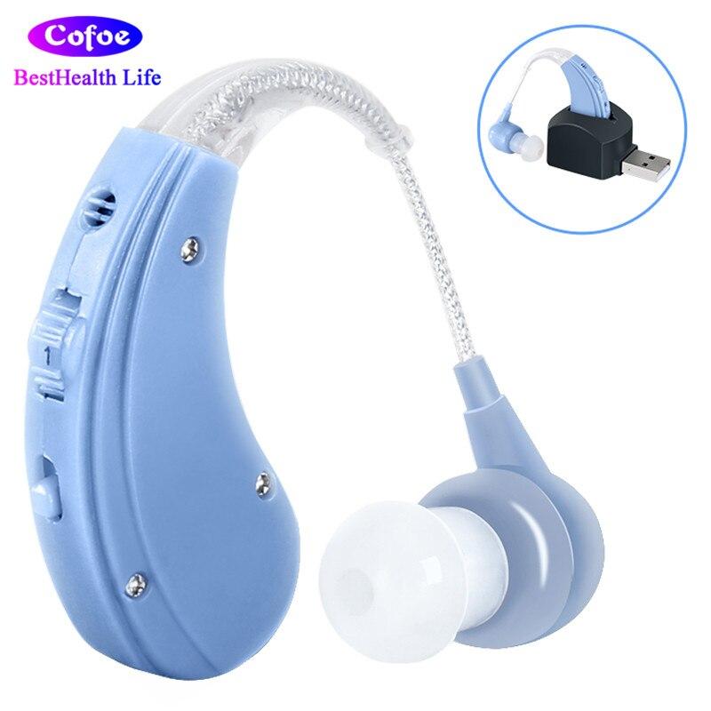 Cofoe BTE Aide Auditive Amplificateur Sound Oreille Soins Outils Rechargeable Réglable Prothèses Auditives pour Les Personnes Âgées/Perte Auditive Patient