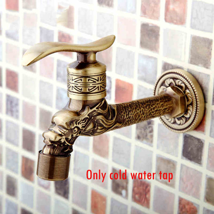 Dragon Animal Shape Garden Bibcock Rural Style Antique Bronze Dragon Tap With Decorative Outdoor Faucet For Garden Bathroom Fixtures