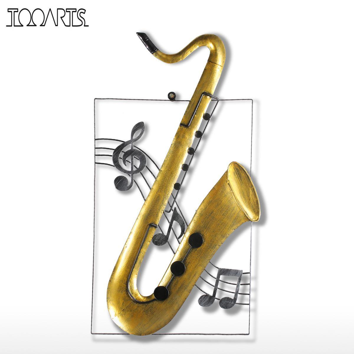Tooarts Metal Sculpture Violin Guitar Saxophone Hanging Ornament Home Decor Wall Hangings Music Instrument Handmade Craft