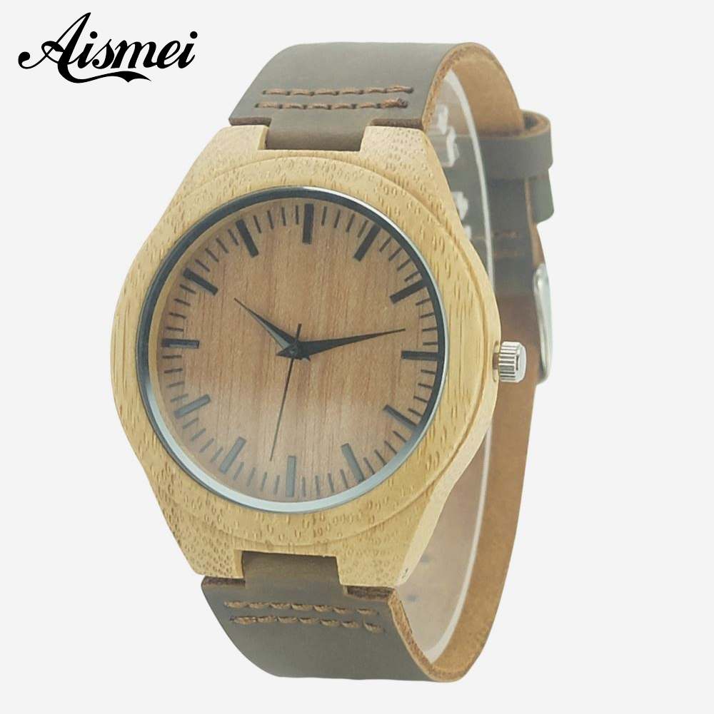 Fashion Wood Quartz Watch Analog Genuine Leather Band New Arrival Handmade Wooden Wristwatch for Men Women Creative Gift
