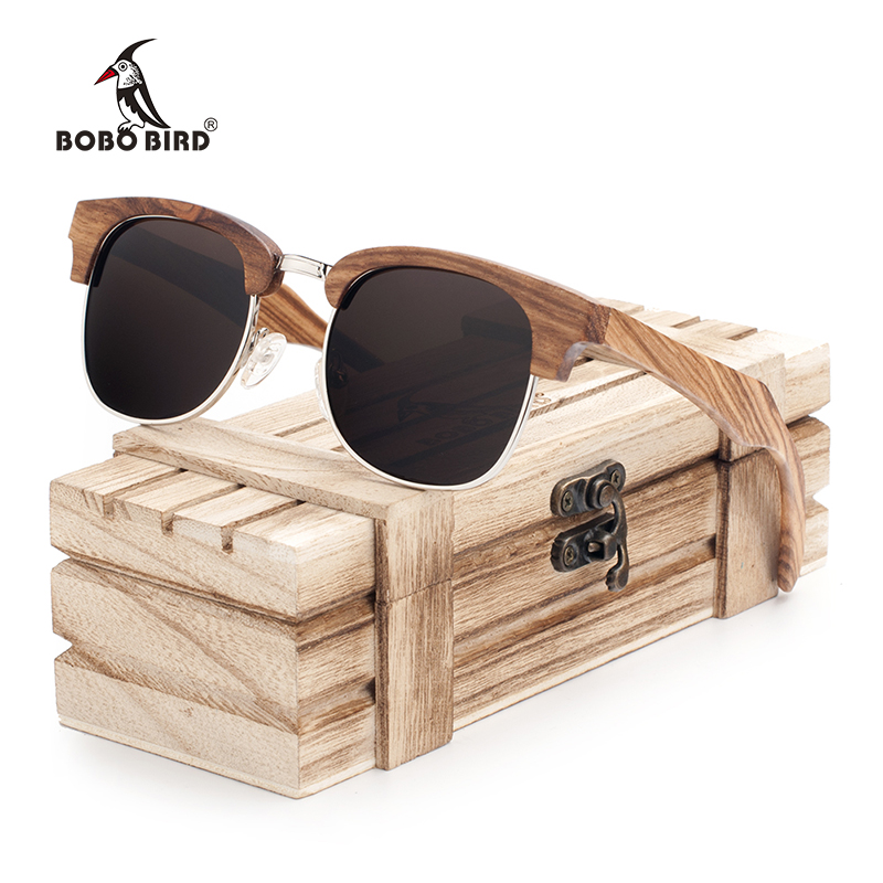 BOBO BIRD Brand Zebra stripe Sunglasses Women Vintage Handmade Semi Enclosure Design Unisex Luxury Wood Sun