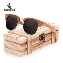 BOBO BIRD Brand Zebra-stripe Sunglasses Women Vintage Handmade Semi Enclosure Design Unisex Luxury Wood Sun Glasses Dropshipping