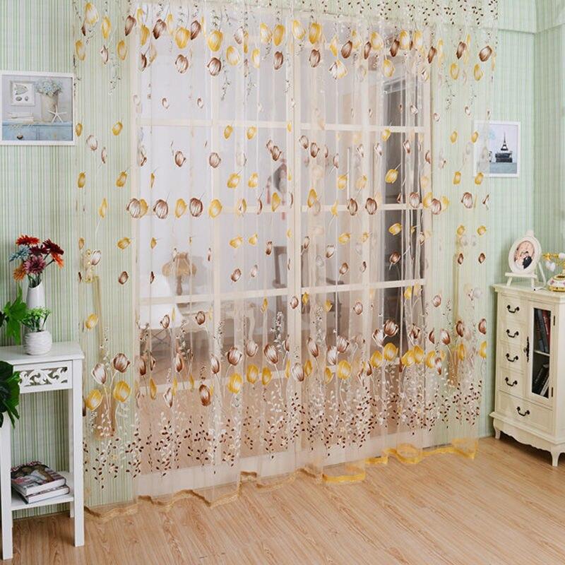 Новый Тюльпан из фатина с цветочным принтом двери, окна экранирования Шторы Sheer простыня Панель шарфы подзоры Бусины кисточкой e5m1