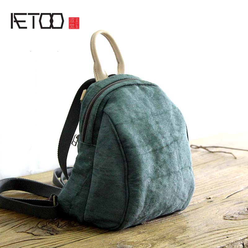 AETOO Original Artistic Shoulder bag Cotton linen Women s Fresh College Wind Backpack Multi function Solid
