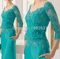 Menta Verde 2017 Mãe Da Noiva Vestidos Bainha Com Decote Em V de 3/4 Mangas de Renda Vestidos de Noite Longos Vestidos Mãe Para O Casamento