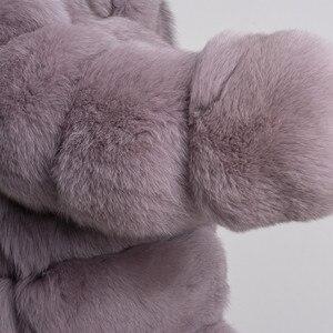 Image 5 - QIUCHEN PJ8142 2020 חורף 70cm נשים אמיתי שועל פרווה מעיל עם פרוות שועל צווארון ארוך שרוולים מעיל אמיתי שועל תלבושת באיכות גבוהה