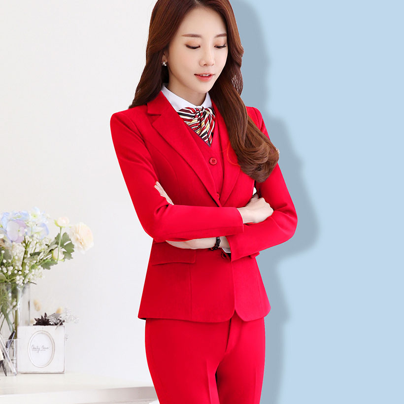 Women's Office Lady Two Pieces Sets Solid elegant turn-down collar Blazers & Trousers for woman interview suits plus size S-5XL