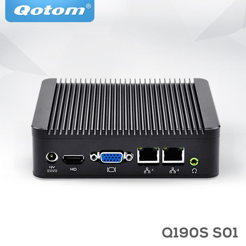 QOTOM Fanless Mini PC Q190S With BayTrail J1900 Processor Quad Core Up To 2.42 GHz, Dual LAN Mini PC Linux