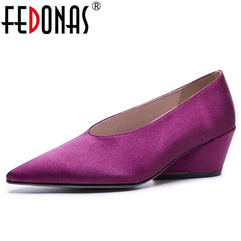 FEDONAS 2020 Women Pumps Sweet Style Square High Heel Pointed Toe Spring Autumn Elegant Shallow Ladies