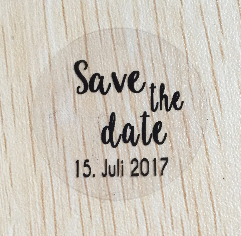90pcs 50 mm customize clear wedding save the date personalized