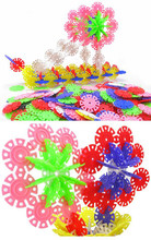 100pcs lot variety of color 3D Puzzle Jigsaw Plastic Snowflake Building Blocks DIY AssemblingToy Early Educational