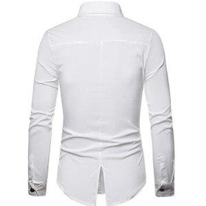 Image 4 - 2019 夏の高品質男性のファッションパーソナライズされた仕立て pu レザーステッチ襟長袖シャツ
