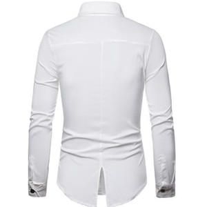 Image 4 - 2019 קיץ באיכות גבוהה גברים של אופנה אישית חייטות עור מפוצל תפרים צווארון ארוך שרוול חולצה