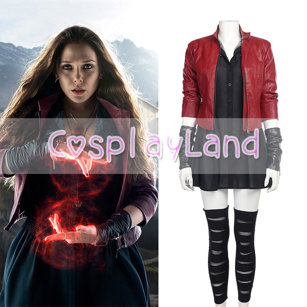 Age of Ultron Wanda Maximoff Scarlet Witch Cosplay Costume for Adult Women Scarlet Witch Leather Red Jacket Outfit Custom Made