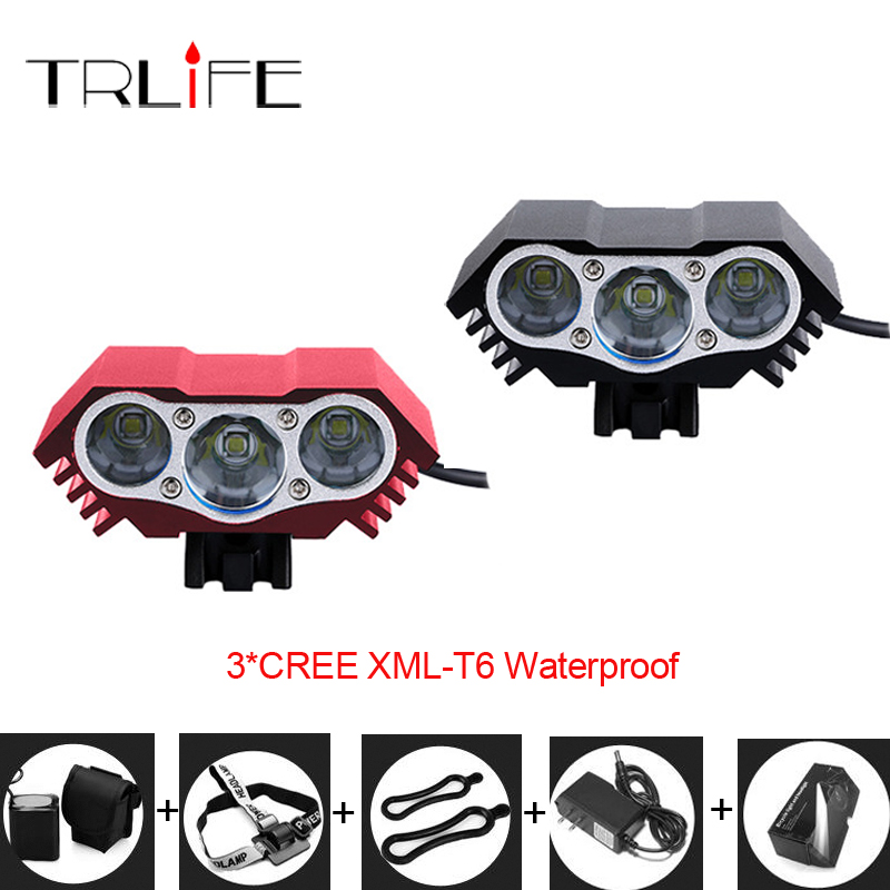 3 X CREE XM-L U2 T6 6000 Lumens Bicycle Light Bike Light Front Flash Light With Rechargeable Battery Pack & Charger 950lm 3 mode white bicycle headlamp w cree xm l t6 black silver 2 x 18650