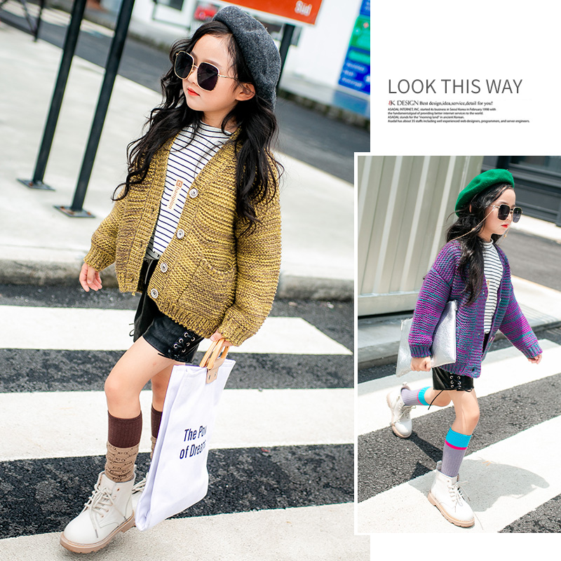 Girls sweater knit cardigan coat 2018 autumn new sweater children spring and autumn fashion jacket twist back crop chunky knit sweater